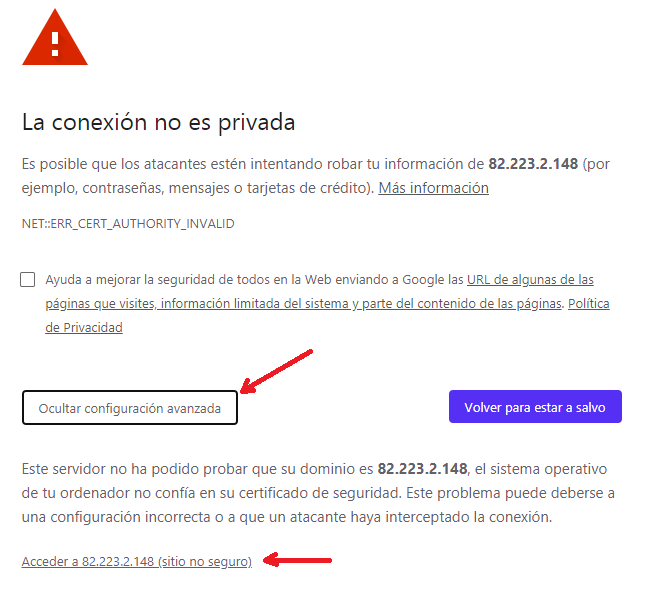IP no segura